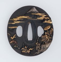 Tsuba with design of Yoritomo's hunt under Mount Fuji. Edo period 1842 Ikeda Takatoshi (Japanese), Otsuki School http://www.mfa.org/collections/object/tsuba-with-design-of-yoritomos-hunt-under-mount-fuji-11829
