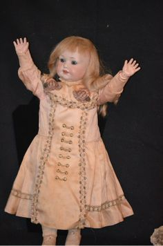Antique Doll Bisque Character Lady 971 Dressed Unusual Character