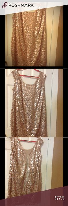 "Women's plus size sequin dress Monif c women's plus size gold sequin dress.  Worn only once.  Dress measures 28"" long from bottom of the arm hole. Full zip back. Monif C. Dresses"