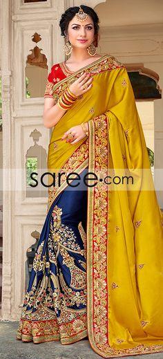 MUSTARD AND BLUE SATIN SILK SAREE WITH RESHAM EMBROIDERY WORK  #Saree #GeorgetteSarees #IndianSaree #Sarees  #SilkSarees #PartywearSarees #RegularwearSarees #officeWearSarees #WeddingSarees #BuyOnline #OnlieSarees #NetSarees #ChiffonSarees #DesignerSarees #SareeFashion