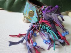 Eclectic fringe cuff leather bracelet Recycled leather by Nlooming, €30.00