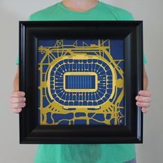 Notre Dame Stadium located at the University of Notre Dame in South Bend, Indiana | College football prints from City Prints put you back in the stands on Saturdays. City Prints look like modern art and remind you of the unforgettable moments you experienced in your favorite seats