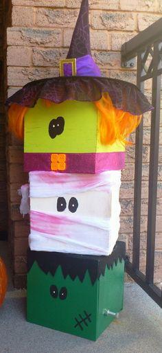 Witch, Mummy and Frankenstein Halloween Boxes