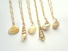 Shell Necklace Gold Dipped Sea Shell on Satellite by SinusFinnicus