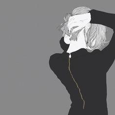 흘러내리는 감정들과 함께 엉클린 머리카락을 쓸어올려 묶으며 생각했다. 어른이 괜히 되었다고 #illustration #drawing #back #hair #black #artwork #일러스트 #드로잉 #뒷모습 #그림 #라인드로잉