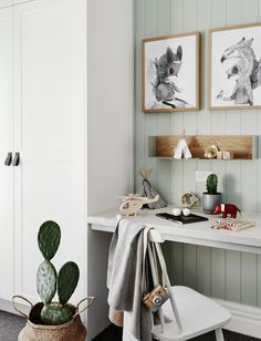 The norsuHOME - Harvey's Bedroom Photographer: Lisa Cohen Stylist: Beck Simon  Paint: Dulux Spanish Olive Cabinetry: kaboodle Kitchens Carpet: Godfrey Hirst  Desk: Caesarstone Panelling: EasyCraft  Products:  HK Living Pendant, La Forma Desk Chair, Mrs Mighetto Prints, Mubu bed (all available at www.norsu.com.au)
