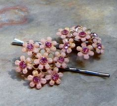 Decorative 3040's Pink Celluloid Flower Floral by WillowBloom, $28.50