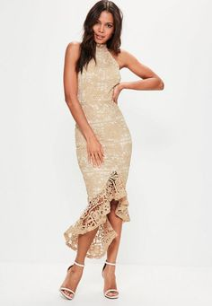 Elevate your evening game wearing this beaut nude maxi dress - featuring a high neck, fishtail and lace overlay.