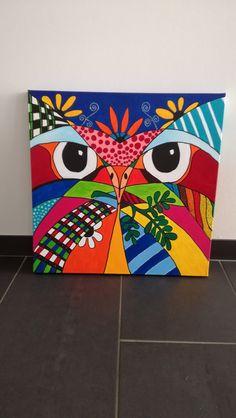 Uil op Canvas 50x50 €95,- VERKOCHT Art Drawings For Kids, Art For Kids, Canvas Art, Canvas Paintings For Kids, Arte Pop, Owl Art, Pastel Art, Western Art, Fabric Art