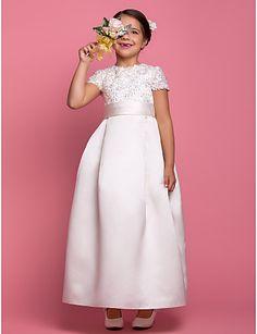 A-line Jewel Floor-length Sash/Ribbon Satin Flower girl Dress - USD $ 99.99