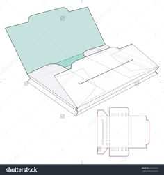 Two Section Folder Stock Vector Illustration 249523474 : Shutterstock Box Packaging, Packaging Design, Diy And Crafts, Paper Crafts, Folder Design, Box Patterns, Origami Box, Cricut Creations, Diy Box