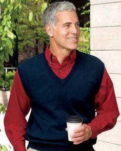 bc26e957 Port Authority Signature Men's Big Fine-Gauge V-Neck Sweater Vest. SW276  $24.50