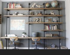 Industrial built in desk and shelving
