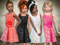 The Sims Resource: Sleeveless Floral Lace Dress by EsyraM • Sims 4 Downloads