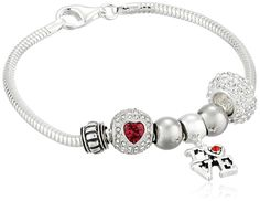 CHARMED BEADS Sterling Silver I Love You Bead Charm Bracelet, 7.5' * Be sure to check out this valentines gift ideas.