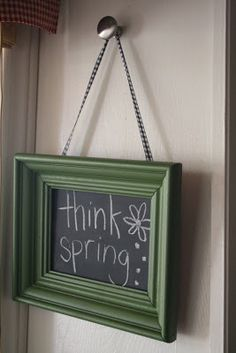 frame, chalkboard spray paint, gingham ribbon, chalk and a cute saying