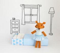 Felt stuffed woodland fox doll play set light by atelierpompadour