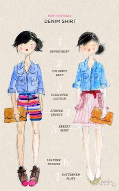 "FROM OHJOY.BLOG.COM--SUCH CUTE SKETCHES :) ""I'm currently living in this denim shirt, and using it in place of a traditional jean jacket. So I share a couple different ways I'd wear it with the last of my summery wardrobe pieces as we transition into fall......"""