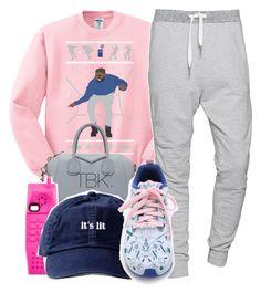 Pink sweatshirt, grey joggers, white and blue sneakers, navy baseball cap, grey handbag.