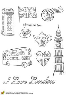 bus anglais drapeau et big ben London Tattoo, London Bus, London Icons, London Food, England Tattoo, London Drawing, Travel Doodles, Thinking Day, Tattoo Sketches