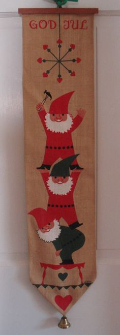 SOLD!!  Jerry Roupe Swedish Christmas Wall Hanging Bell Ringer Tomte Gnomes Jute 1960's #vintagechristmas #Jerryroupe #Scandinavian #Swedish #Bellringer #gnomes #elf #elves