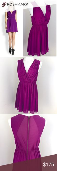 Alice + Olivia Purple V Neck Sleeveless Dress Gorgeous and in excellent condition, no flaws. Such a beautiful rich purple color, silk, sleeveless, sheer back, wrap effect v neck mini dress by Alice + Olivia. Zips up the back, elastic waist and a flowy skirt 😍 the fabric feels so soft and amazing! so so so beautiful! Pair with a thin waist belt, matching heels and some jewelry to complement the color.  😍😍😍 Alice + Olivia Dresses Mini
