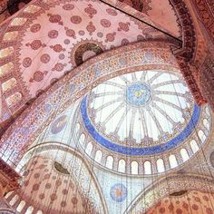 Interior of the Blue Mosque in Istanbul, Turkey via @anjuliglobal