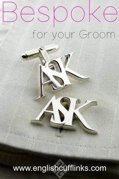 We make these bespoke initial cufflinks entirely by hand so they can be in any style you require. Each pair is unique and can be made in sterling silver, or yellow gold, white gold, or platinum. Wedding Shower Gifts, Gifts For Wedding Party, Party Gifts, Wedding Ring For Her, Wedding Pins, Our Wedding, Wedding Jewellery Inspiration, Wedding Jewelry, Handmade Wedding Rings