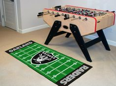 "Oakland Raiders Runner 30""x72"" by Fanmats. $39.27. Oakland Raiders Runner 30""x72""For all those football fans out there: football field-shaped area rugs by FANMATS. Made in U.S.A. 100% nylon carpet and non-skid recycled vinyl backing. Machine washable. Officially licensed. Chromojet printed in true team colors. Please note: These products are custom made. The normal lead time is about 7-10 business days. However, the putting mats and carpet tiles do take a littl..."