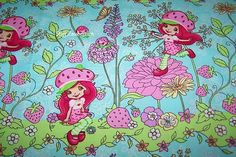 Strawberry Shortcake Emily Erdbeer Blumen Kinder Patchwork Stoff