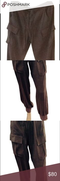 Beautiful 💯 % silk cargo trousers on Tabacco Beautiful 💯% silk cargo pants side pockets and the usual pockets , tan color P.A.R.O.S.H. Pants