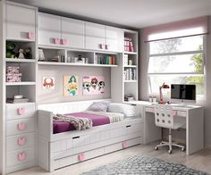 Extra large twin daybed with storage, desk and wall mounted shelving. Extra large twin daybed with storage, desk and wall mounted shelving. Lots of storage giving small bedroom a large f Small Room Bedroom, Trendy Bedroom, Bedroom Decor, Master Bedroom, Bedroom Girls, Wall Decor, Cozy Bedroom, Girls Bedroom Ideas Ikea, Furniture For Small Bedrooms