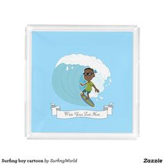 Surfing boy cartoon square serving trays