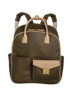 """Personal Shopping... India Hicks """"jet pack"""" bag in army green or black with leather trim. Carry by top handles or hands-free. To see closer and shop: www.IndiaHicks.com/MaryKauai"""