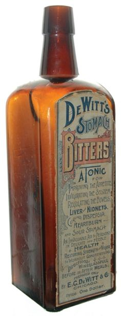 DE WITTS STOMACH BITTERS – Meyer Collection - Found on peachridgeglass.com