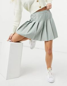 New Look mini pleated tennis skirt in pastel green check | ASOS