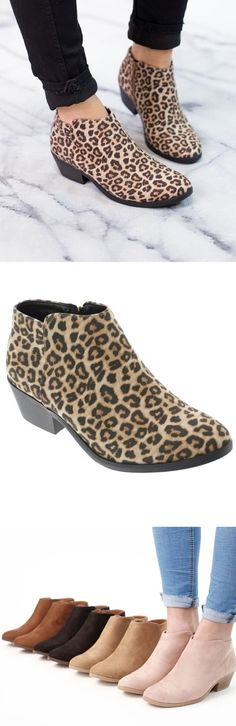 daebcb0353 Faux suede leopard print ankle boot! Would be super cute with black skinny  jeans!