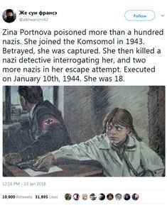 """biggest-gaudiest-patronuses: """" whyyoustabbedme: """" That's how she looked I adore her. She poisoned their soup (she was working in the cantine and was forced to serve the occupying nazis) and ATE the. Lgbt Support, Ernesto Che, Close Today, Young Avengers, Real Facts, Badass Women, I School, History Facts, Betrayal"""