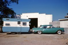 1957 Oldsmobile pulling an unidentified, fabulous trailer.