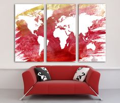 Image result for world map mural corner shelves pinterest watercolor red and yellow world map wall canvas giclee gallery wrap adhesive wall color purple gray gumiabroncs Choice Image
