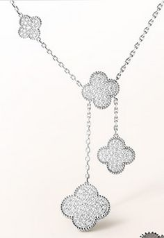 Van Cleef & Arpels Magic Diamond and White Gold Alhambra Necklace