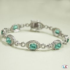 Paraiba Apatite Bracelet in Platinum Overlay Sterling Silver (Nickel Free) | Liquidation Channel