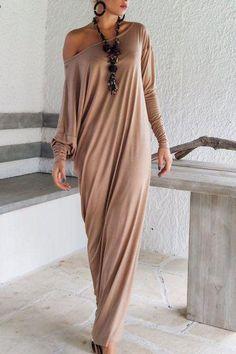 Chicnowa Long Sleeve Skew Neck Maxi Dress