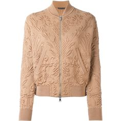 Alexander McQueen Textured Jacquard Bomber Jacket ($2,285) ❤ liked on Polyvore featuring outerwear, jackets, brown, alexander mcqueen jacket, stand up collar jacket, alexander mcqueen, blouson jacket and brown bomber jacket