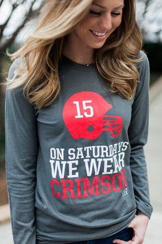 On Saturday We Wear Crimson Women's Gameday Alabama Long Sleeve T-shirt University of Alabama Crimson Tide Roll Tide Roll