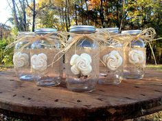 Wrapped Quart Size Mason Jar with Sola Flower & Raffia