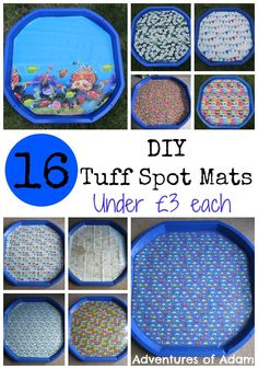DIY Tuff Spot Mats - quick and easy creation of tuff spot or play tray that will make clean up easier and can add extra dimension to play. Eyfs Activities, Nursery Activities, Toddler Activities, Preschool Ideas, Outdoor Activities, Teaching Ideas, Sensory Tubs, Baby Sensory, Sensory Play
