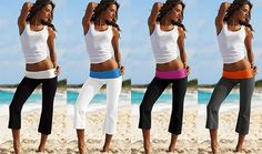 Victoria's Secret Foldover Yoga Capri Legging Color is one modeled on far right:) in perfect condition with a bright coral orange and gray colorblock design :) perfect for the weekend or to throw on as a beach coverup! Yoga Pants Outfit, Yoga Capris, Summer Outfits, Casual Outfits, Cute Outfits, Victoria's Secret, Pink Summer, Capri Leggings, Colorful Leggings