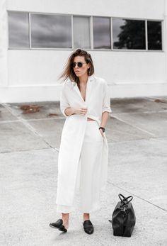 Look moderne tout en blanc ~ Accessoires noirs ~ Fashion ~ Mode Femme