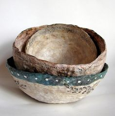 Art bowl using tea bag papers, etc.  Kim Henkle ~ LOVE her art!